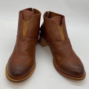 Brown Chunky Heels Vintage Boots Zipper Ankle Boot